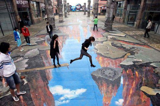 Outstanding Urban Art illustrationsDepth Sidewalk Art