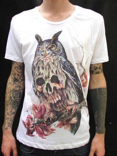 Sacred stitches t shirt designs T shirt with owl design