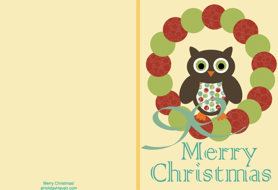 Free printable christmas cards t shirt factory owl christmas card m4hsunfo