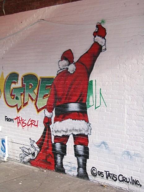 Santa drawing Christmas Graffiti