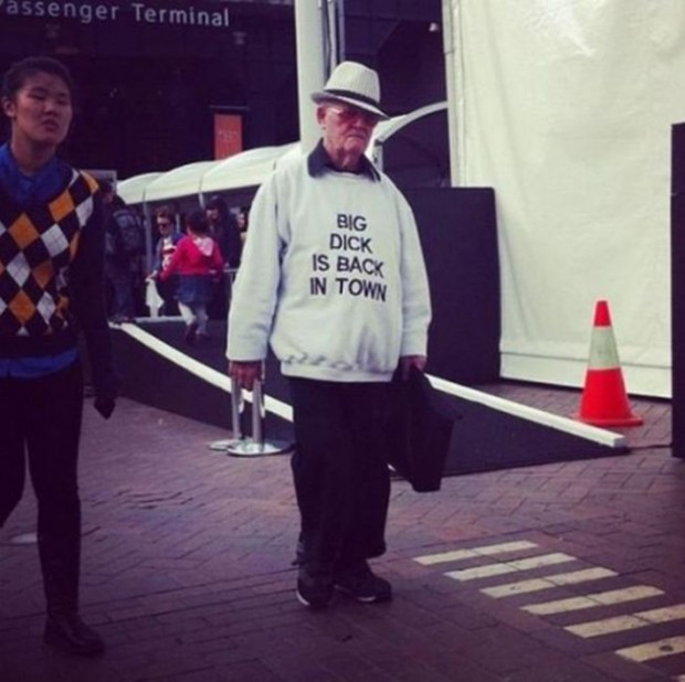 Old people wearing T-shirts