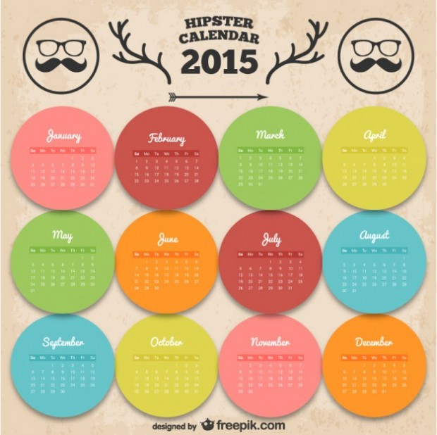 Free vectors -hipster calendar