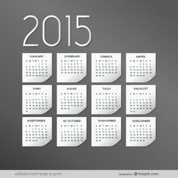 Grey 2015 calendar