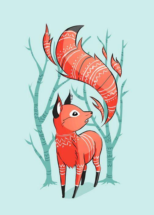 Winter fox illustration