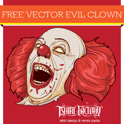 Download Free Evil Clown Vector From Tshirt Factory